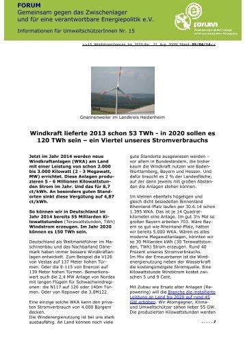 Windstromchancen bis 2020 - Verein FORUM | Gemeinsam gegen ...