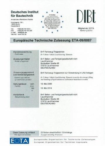 Europäische Technische Zulassung ETA-09_0087 - B+F Beton- und ...
