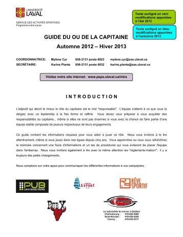 GUIDE DU OU DE LA CAPITAINE Automne 2012 – Hiver 2013