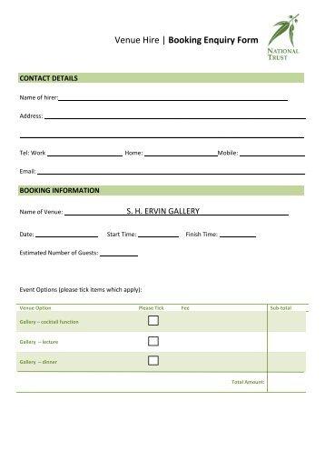 Venue Hire | Booking Enquiry Form