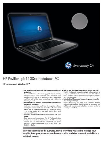 PSG Consumer 2C11 HP Notebook Datasheet - Box.co.uk