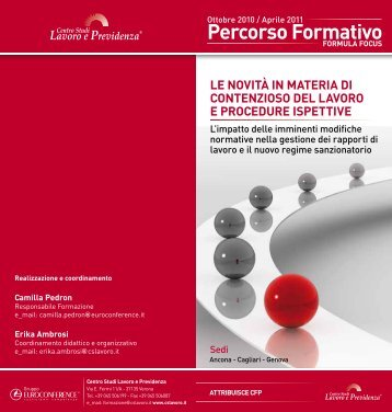Percorso Formativo - Centro Studi Lavoro e Previdenza