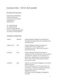 Curriculum Vitae - Prof. Dr. Doris Lewalter - Fachgebiet ...