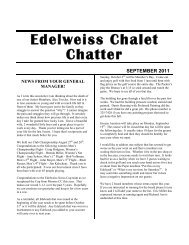 Edelweiss Chalet Chatter Sep 2011 - Edelweiss Chalet Country Club