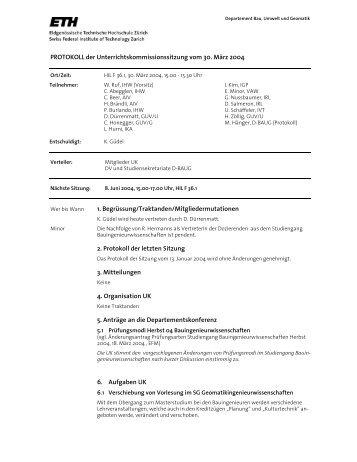 Sitzung 2/04 vom 30.03.04 - Departement Bau, Umwelt und Geomatik
