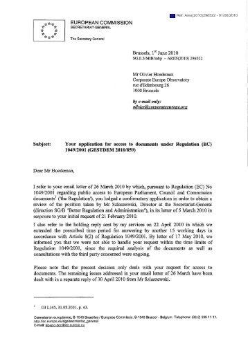 EUROPEAN COMMISSION - ALTER-EU