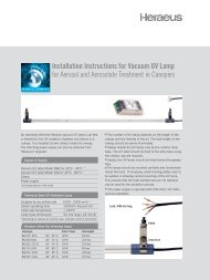 Installation Instructions for Vacuum UV Lamp - Heraeus Noblelight