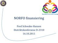 NORFO finansiering - Oslo Vest Rotary Klubb
