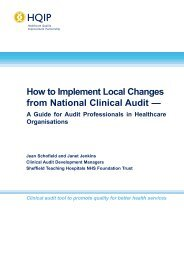 How to Implement Local Changes from National Clinical Audit - HQIP