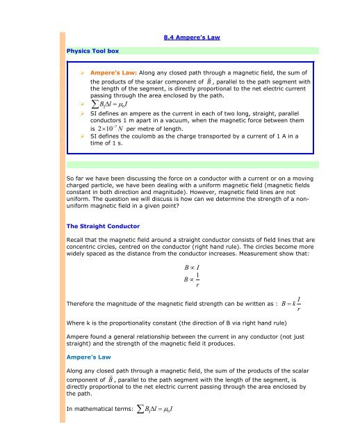 SPH Unit 8 4 Ampere's Law - The Burns Home Page
