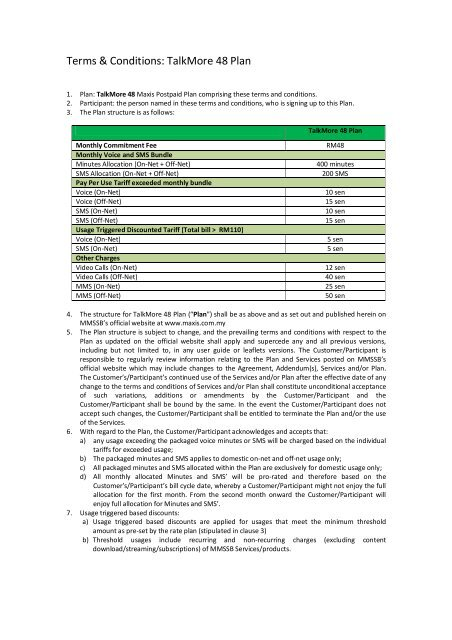 Terms & Conditions: TalkMore 48 Plan - Maxis