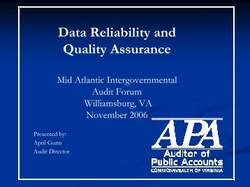 Data Reliability and Quality Assurance - Intergovernmental Audit ...