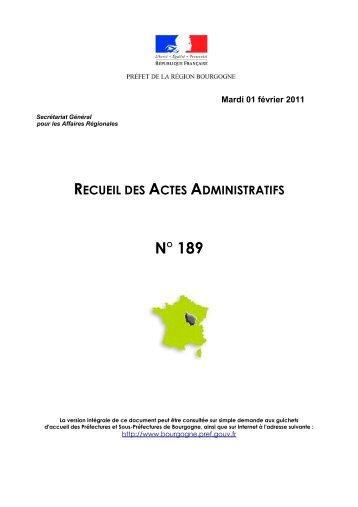 RAA 189 - Préfecture de la Côte-d'Or