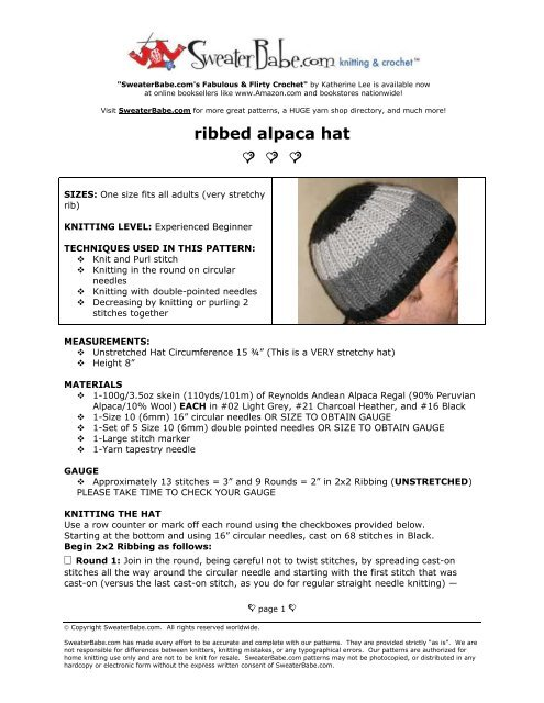 Ribbed Alpaca Hat free knitting pattern - Yarn Shop