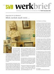 Blick zurück nach vorn … - Schweizerischer Werkbund