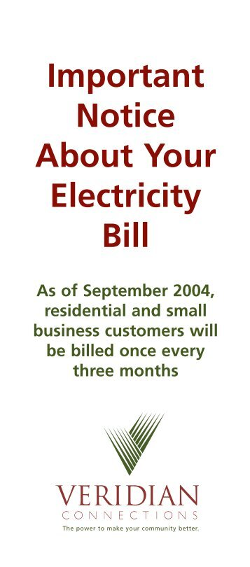 Important Notice About Your Electricity Bill As of ... - Veridian