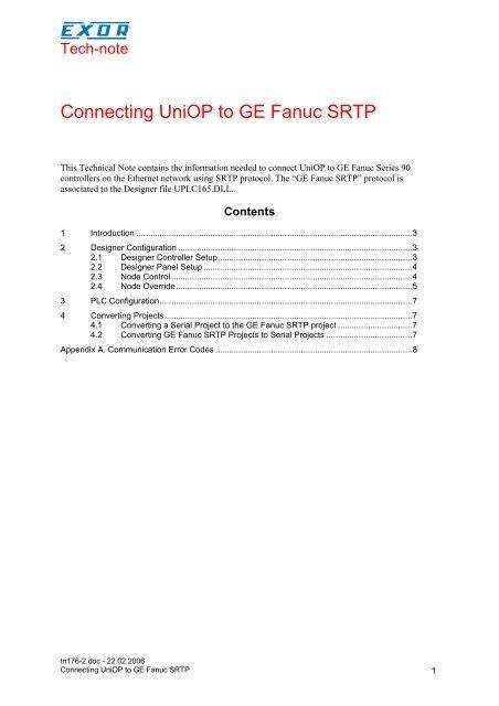 Connecting UniOP to GE Fanuc SRTP