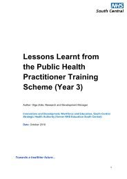 Lessons Learnt from the Public Health ... - Wessex Deanery