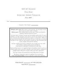 MAT 167: Statistics Final Exam Instructor: Anthony Tanbakuchi Fall ...