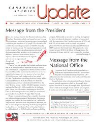 Message from the National Office Message from the President