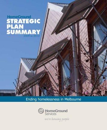 Strategic Plan Summary 2009-2012 - HomeGround Services