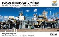 Download the Focus Minerals Presentation to the Denver Gold Forum