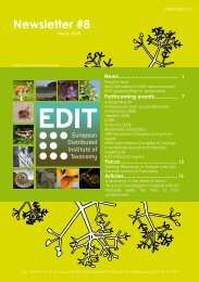 Newsletter #8 - EDIT | - European Distributed Institute of Taxonomy