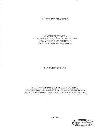 Localisation dans les milieux confinés: combinaison de ... - Depositum