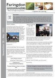 Newsletter 30 - May 2011 - Faringdon Community College