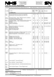 Liste des Normes disponibles