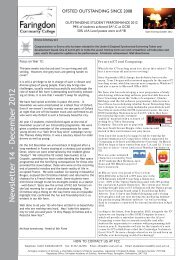 Newsletter 14 - December 2012 - Faringdon Community College