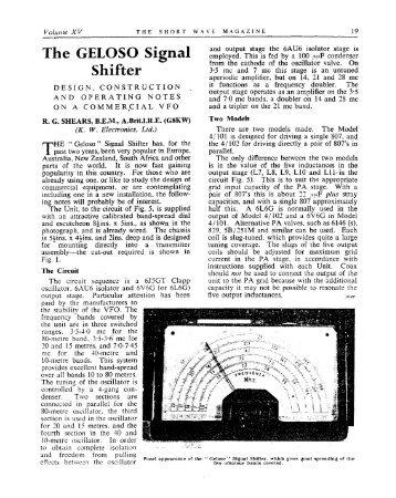 The GELOSO Signal Shifter - VMARSmanuals