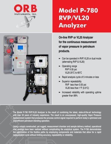 Model P-780 RVP/VL20 Analyzer - OrbInstruments.com