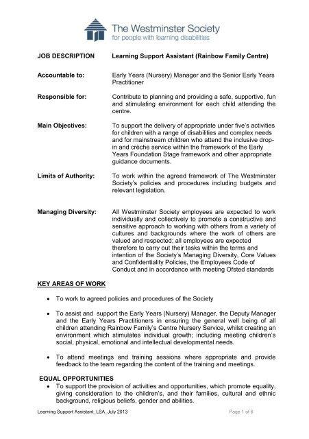 Job Description & Person Specification pdf - Westminster