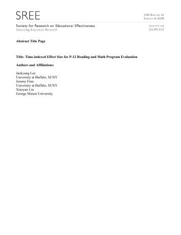 2010 SREE Conference Abstract Template
