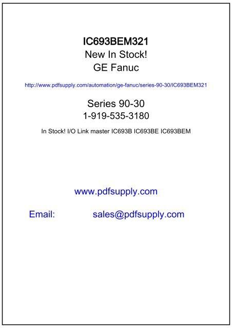 GE Fanuc | Series 90-30 | IC693BEM321 - GE Fanuc PLC
