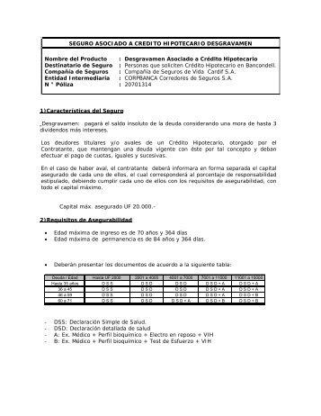 seguro asociado a credito hipotecario desgravamen - Corpbanca