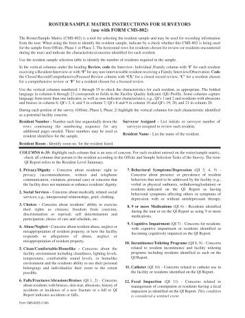 ROSTER/SAMPLE MATRIX INSTRUCTIONS FOR SURVEYORS ...