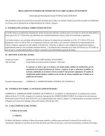 Reglamento Interno de Fondos Mutuos - Corpbanca