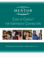 code of conduct for independent contractors - The MENTOR Network