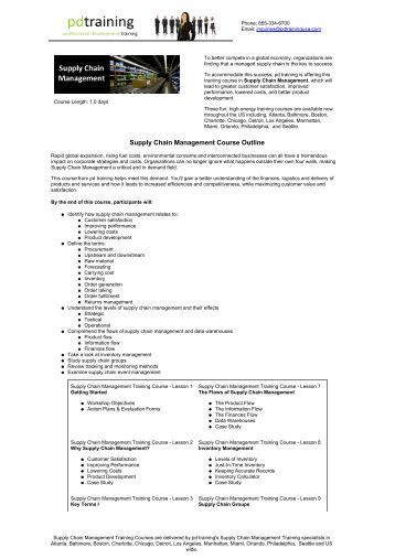 supply chain management course outline
