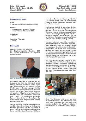 Bericht Rotary Club Liestal - ESB