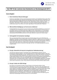 Die TOP 10 der Junioren des Handwerks zur Bundestagswahl 2013