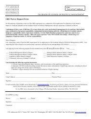 GRE Waiver Request Form - Graduate School of Political Management