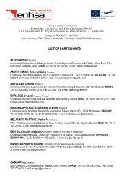 LIST OF PARTICIPANTS - ENHSA
