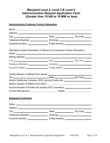 MD Level 1 Interconnection Application Form and ... - FirstEnergy