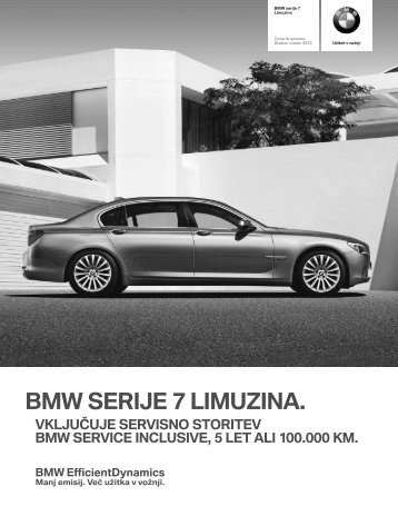 Prenos podatkov Aktualni cenik za BMW serije 7 Limuzina (PDF ...