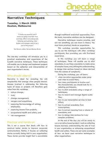 Narrative Techniques Flyer.indd - Anecdote