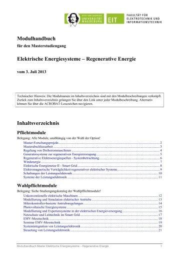 Modulhandbuch - Fakultät für Elektrotechnik und Informationstechnik