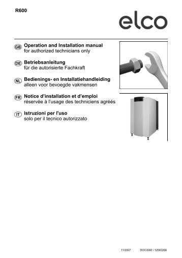 R600 Operation and Installation manual for authorized ... - Edilportale